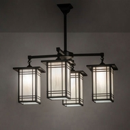 Meyda Tiffany 99493 Prairie Mission Craftsman Brown Ceiling Chandelier