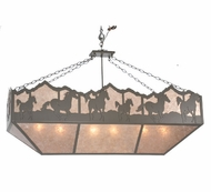 Meyda Tiffany 99638 Wild Horses Rustic Timeless Bronze / Silver Mica Kitchen Island Light Fixture
