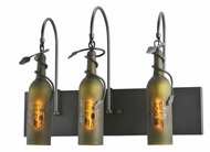 Meyda Tiffany 99825 Tuscan Vineyard Etched Grapes Rustic Black Finish 18  Tall Bathroom Light Fixture