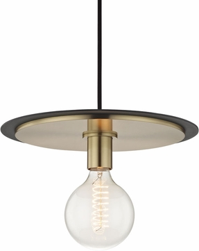 Mitzi H137701L-AGB-BK Milo Contemporary Aged Brass / Black Drop Ceiling Light Fixture