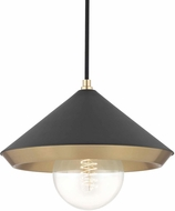 Mitzi H139701L-AGB-BK Marnie Contemporary Aged Brass / Black Pendant Light Fixture