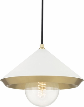 Mitzi H139701L-AGB-WH Marnie Modern Aged Brass / White Pendant Lighting Fixture