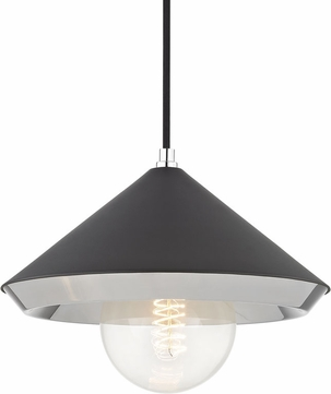 Mitzi H139701L-PN-BK Marnie Contemporary Polished Nickel / Black Hanging Pendant Lighting