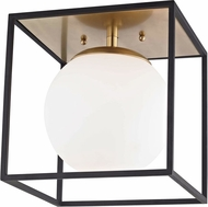 Mitzi H141501L-AGB-BK Aira Contemporary Aged Brass / Black 14  Flush Lighting