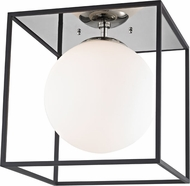 Mitzi H141501L-PN-BK Aira Modern Polished Nickel / Black 14  Flush Mount Lighting