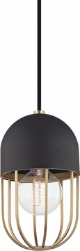 Mitzi H145701-AGB-BK Haley Contemporary Aged Brass / Black Mini Ceiling Light Pendant