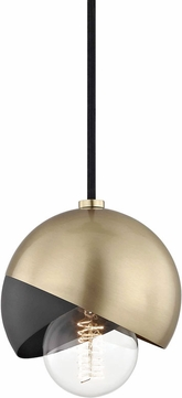Mitzi H168701-AGB-BK Emma Contemporary Aged Brass / Black Mini Hanging Pendant Light
