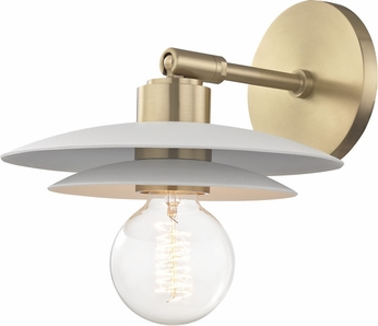 Mitzi H175101S-AGB-WH Milla Modern Aged Brass / White Wall Lighting Fixture
