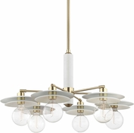 Mitzi H175806-AGB-WH Milla Modern Aged Brass / White Hanging Chandelier