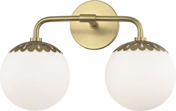 Mitzi H193302-AGB Paige Modern Aged Brass 2-Light Bathroom Lighting Fixture