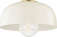 Mitzi H199501L-AGB-CR Avery Modern Aged Brass / Cream 14  Flush Lighting