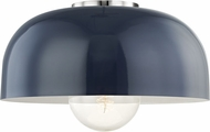 Mitzi H199501L-PN-NVY Avery Contemporary Polished Nickel / Navy 14  Flush Mount Light Fixture