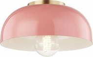 Mitzi H199501S-AGB-PK Avery Contemporary Aged Brass / Pink 11  Flush Ceiling Light Fixture