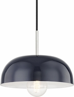 Mitzi H199701S-PN-NVY Avery Contemporary Polished Nickel / Navy Mini Pendant Lamp