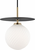 Mitzi H200701L-AGB-BK Ellis Modern Aged Brass / Black LED 10  Mini Hanging Lamp