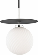 Mitzi H200701L-PN-BK Ellis Contemporary Polished Nickel / Black LED 10  Mini Hanging Light