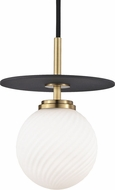 Mitzi H200701S-AGB-BK Ellis Modern Aged Brass / Black LED 7  Mini Pendant Light Fixture