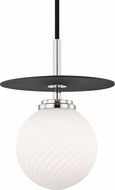 Mitzi H200701S-PN-BK Ellis Contemporary Polished Nickel / Black LED 7  Mini Pendant Lighting Fixture