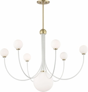 Mitzi H234807-AGB-WH Coco Contemporary Aged Brass / White LED Chandelier Lighting