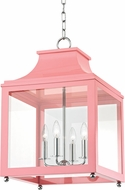 Mitzi H259704L-PN-PK Leigh Contemporary Polished Nickel / Pink Pendant Lamp