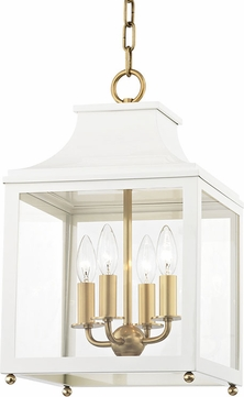Mitzi H259704S-AGB-WH Leigh Contemporary Aged Brass / White Mini Hanging Pendant Light