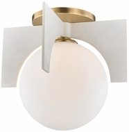 Mitzi H299501L-AGB-WH Nadia Modern Aged Brass / White Xenon Flush Lighting