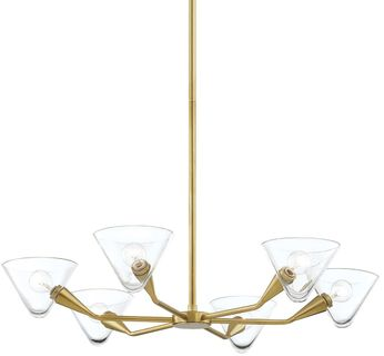 Mitzi H327806-AGB Isabella Contemporary Aged Brass Hanging Chandelier