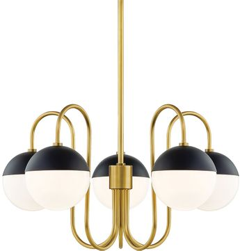 Mitzi H344805-AGB-BK Renee Contemporary Aged Brass  /  Black Chandelier Lamp