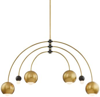 Mitzi H348806-AGB-BK Willow Contemporary Aged Brass  /  Black Lighting Chandelier
