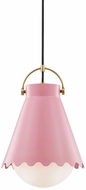 Mitzi H351701L-AGB-BLSH Lauryn Contemporary Aged Brass  /  Pink Pendant Hanging Light