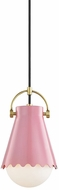 Mitzi H351701S-AGB-BLSH Lauryn Contemporary Aged Brass  /  Pink Mini Ceiling Light Pendant