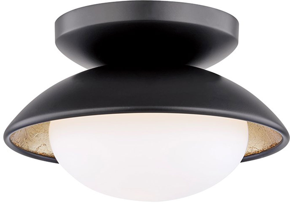 Mitzi H368601s Blk Gl Cadence Contemporary Black Gold Leaf 6 75 Home Ceiling Lighting