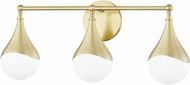 Mitzi H416303-AGB Ariana Modern Aged Brass LED 3-Light Bathroom Lighting