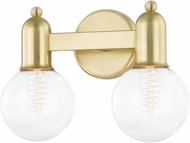 Mitzi H419302-AGB Bryce Contemporary Aged Brass 2-Light Bath Light Fixture