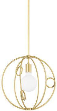 Mitzi H485701S-AGB Alanis Contemporary Aged Brass 16 Pendant Hanging Light