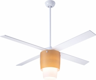 Modern Fan Company HAL-WA-52-WH-LED Halo Contemporary White w/ Amber Glass LED 52  Ceiling Fan