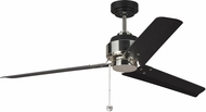 Monte Carlo Fans 3AR54MBKPN Arcade 54 Contemporary Midnight Black / Polished Nickel 54 Home Ceiling Fan