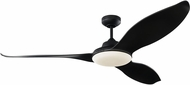 Monte Carlo Fans 3STR60MBKD Stockton Contemporary Midnight Black LED 60 Home Ceiling Fan