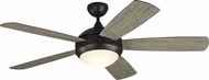 Monte Carlo Fans 5DIC52AGPD Discus Classic Contemporary Aged Pewter LED 52 Home Ceiling Fan