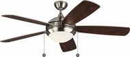 Monte Carlo Fans 5DIC52BSD-V1 Discus Classic Brushed Steel LED 52  Home Ceiling Fan