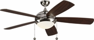Monte Carlo Fans 5DIC52PND-V1 Discus Classic Polished Nickel LED 52 Ceiling Fan