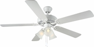 Monte Carlo Fans BF3-WH HomeBuilder III White 52 Indoor Ceiling Fan