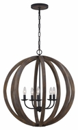 Feiss F2936-5WOW-AF Allier Modern Weather Oak Wood / Antique Forged Iron Finish 26 Wide Chandelier Lighting