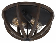 Feiss FM400WOW-AF Allier Weather Oak Wood / Antique Forged Iron Finish 13 Wide Flush Mount Light Fixture