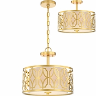 Nuvo 60-5937 Filigree Natural Brass Ceiling Light Fixture / Pendant Lighting