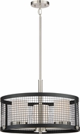 Nuvo 60-6453 Pratt Modern Black with Brushed Nickel Accents Drum Ceiling Pendant Light
