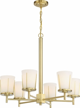 Nuvo 60-6536 Serene Natural Brass Chandelier Lighting
