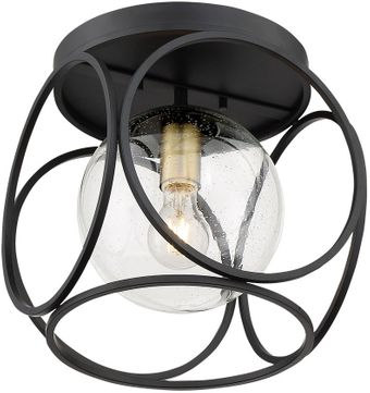 Nuvo 60-6946 Aurora Contemporary Black and Vintage Brass Ceiling Light