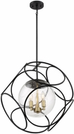 Nuvo 60-6947 Aurora Contemporary Black and Vintage Brass 22  Drop Lighting