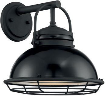 Nuvo 60-7062 Upton Gloss Black and Silver Outdoor 12 Wall Lighting Sconce